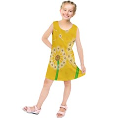Leaf Flower Floral Sakura Love Heart Yellow Orange White Green Kids  Tunic Dress by Mariart