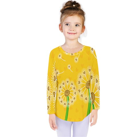 Leaf Flower Floral Sakura Love Heart Yellow Orange White Green Kids  Long Sleeve Tee by Mariart