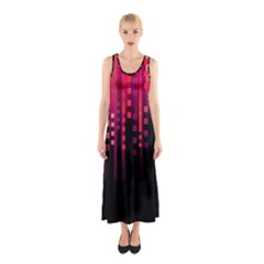 Line Vertical Plaid Light Black Red Purple Pink Sexy Sleeveless Maxi Dress