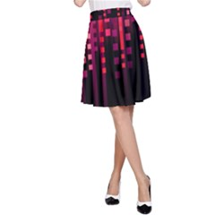 Line Vertical Plaid Light Black Red Purple Pink Sexy A Line Skirt by Mariart