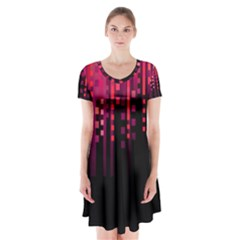 Line Vertical Plaid Light Black Red Purple Pink Sexy Short Sleeve V Neck Flare Dress by Mariart
