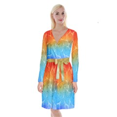 Leaf Color Sam Rainbow Long Sleeve Velvet Front Wrap Dress by Mariart