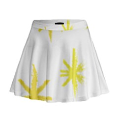 Line Painting Yellow Star Mini Flare Skirt by Mariart