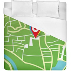 Map Street Star Location Duvet Cover (king Size) by Mariart