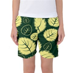 Leaf Green Yellow Women s Basketball Shorts by Mariart