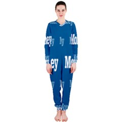 Money White Blue Color Onepiece Jumpsuit (ladies)  by Mariart