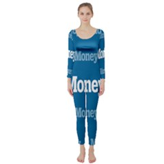 Money White Blue Color Long Sleeve Catsuit by Mariart