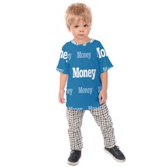 Money White Blue Color Kids  Raglan Tee by Mariart
