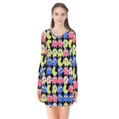 Pacman Seamless Generated Monster Eat Hungry Eye Mask Face Color Rainbow Flare Dress by Mariart