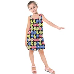 Pacman Seamless Generated Monster Eat Hungry Eye Mask Face Color Rainbow Kids  Sleeveless Dress