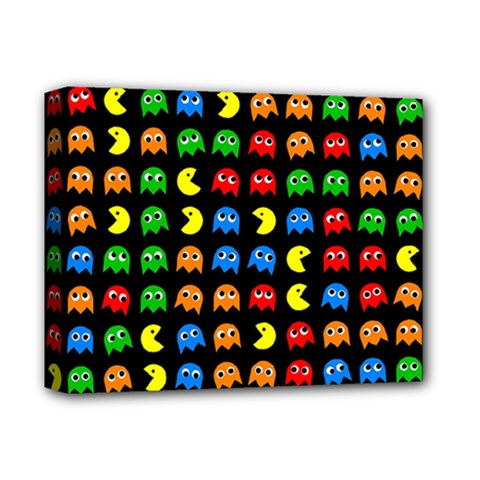 Pacman Seamless Generated Monster Eat Hungry Eye Mask Face Rainbow Color Deluxe Canvas 14  X 11  by Mariart