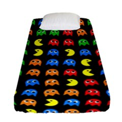 Pacman Seamless Generated Monster Eat Hungry Eye Mask Face Rainbow Color Fitted Sheet (single Size)