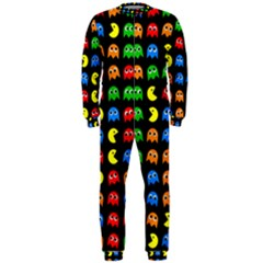 Pacman Seamless Generated Monster Eat Hungry Eye Mask Face Rainbow Color Onepiece Jumpsuit (men)  by Mariart