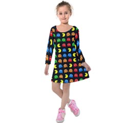 Pacman Seamless Generated Monster Eat Hungry Eye Mask Face Rainbow Color Kids  Long Sleeve Velvet Dress by Mariart
