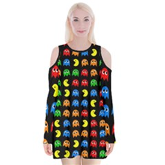 Pacman Seamless Generated Monster Eat Hungry Eye Mask Face Rainbow Color Velvet Long Sleeve Shoulder Cutout Dress by Mariart