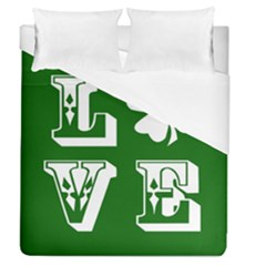 Parks And Tally Love Printable Green Duvet Cover (queen Size)
