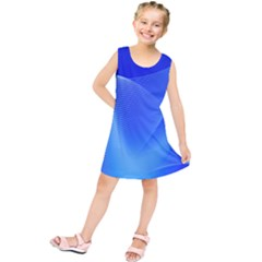Line Net Light Blue White Chevron Wave Waves Kids  Tunic Dress by Mariart