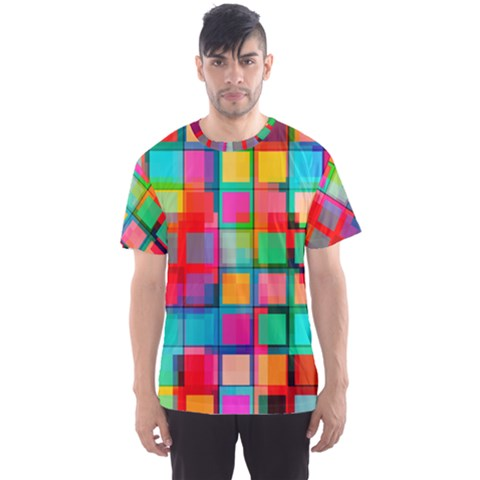 Plaid Line Color Rainbow Red Orange Blue Chevron Men s Sport Mesh Tee by Mariart