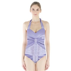 Ribbon Purple Sexy Halter Swimsuit by Mariart