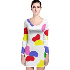 Seed Beans Color Rainbow Long Sleeve Velvet Bodycon Dress