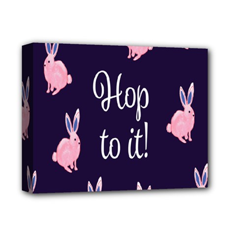 Rabbit Bunny Pink Purple Easter Animals Deluxe Canvas 14  X 11  by Mariart