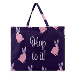 Rabbit Bunny Pink Purple Easter Animals Zipper Large Tote Bag by Mariart