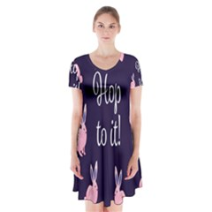 Rabbit Bunny Pink Purple Easter Animals Short Sleeve V Neck Flare Dress by Mariart