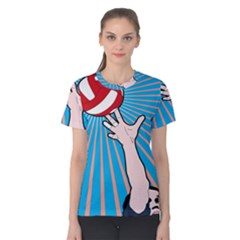 Volly Ball Sport Game Player Women s Cotton Tee