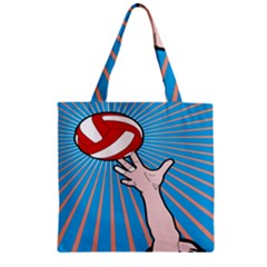 Volly Ball Sport Game Player Zipper Grocery Tote Bag by Mariart
