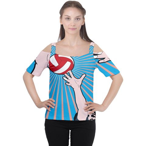 Volly Ball Sport Game Player Women s Cutout Shoulder Tee by Mariart