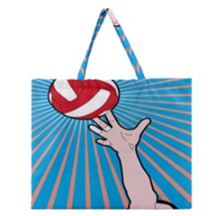Volly Ball Sport Game Player Zipper Large Tote Bag by Mariart