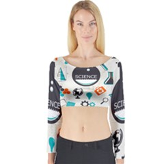 Science Chemistry Physics Long Sleeve Crop Top by Mariart