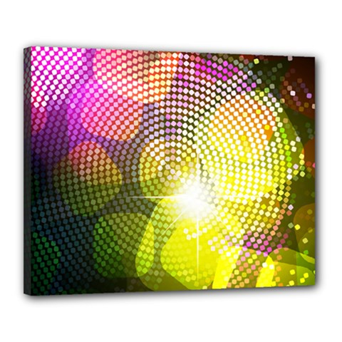 Plaid Star Light Color Rainbow Yellow Purple Pink Gold Blue Canvas 20  X 16  by Mariart