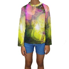 Plaid Star Light Color Rainbow Yellow Purple Pink Gold Blue Kids  Long Sleeve Swimwear