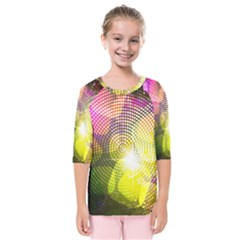 Plaid Star Light Color Rainbow Yellow Purple Pink Gold Blue Kids  Quarter Sleeve Raglan Tee