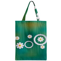 Sunflower Sakura Flower Floral Circle Green Zipper Classic Tote Bag by Mariart