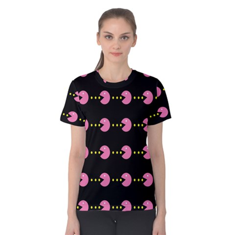 Wallpaper Pacman Texture Bright Surface Women s Cotton Tee by Mariart
