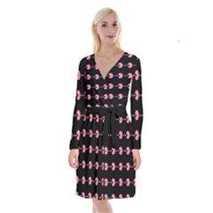 Wallpaper Pacman Texture Bright Surface Long Sleeve Velvet Front Wrap Dress by Mariart