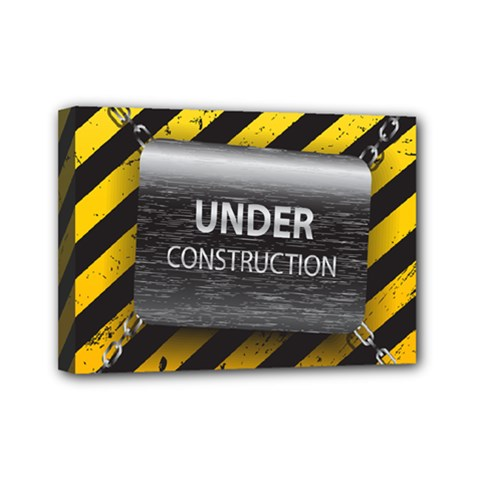 Under Construction Sign Iron Line Black Yellow Cross Mini Canvas 7  X 5  by Mariart
