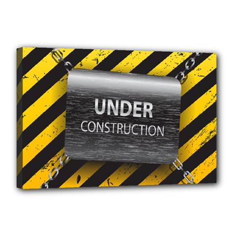 Under Construction Sign Iron Line Black Yellow Cross Canvas 18  X 12  by Mariart
