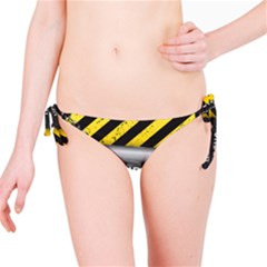 Under Construction Sign Iron Line Black Yellow Cross Bikini Bottom by Mariart