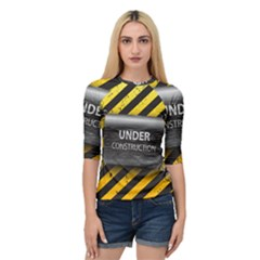 Under Construction Sign Iron Line Black Yellow Cross Quarter Sleeve Tee by Mariart