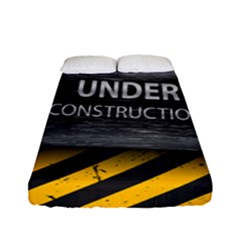 Under Construction Sign Iron Line Black Yellow Cross Fitted Sheet (full/ Double Size) by Mariart