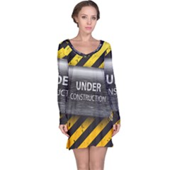 Under Construction Sign Iron Line Black Yellow Cross Long Sleeve Nightdress by Mariart