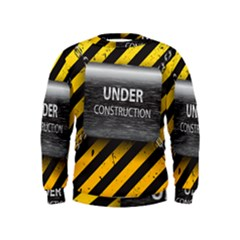 Under Construction Sign Iron Line Black Yellow Cross Kids  Sweatshirt by Mariart