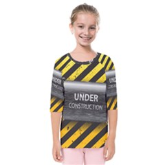 Under Construction Sign Iron Line Black Yellow Cross Kids  Quarter Sleeve Raglan Tee by Mariart
