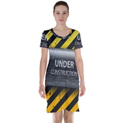 Under Construction Sign Iron Line Black Yellow Cross Short Sleeve Nightdress by Mariart