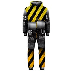 Under Construction Sign Iron Line Black Yellow Cross Hooded Jumpsuit (men)  by Mariart