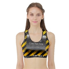 Under Construction Sign Iron Line Black Yellow Cross Sports Bra With Border by Mariart