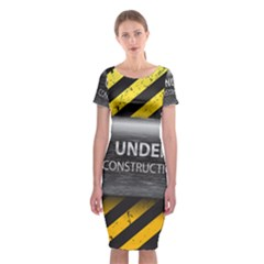 Under Construction Sign Iron Line Black Yellow Cross Classic Short Sleeve Midi Dress by Mariart